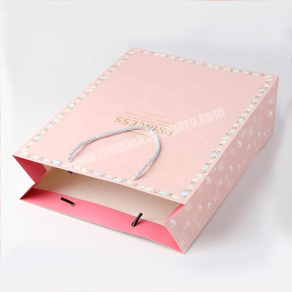 Factory pink jewelry packaging paper bags with logo for gift