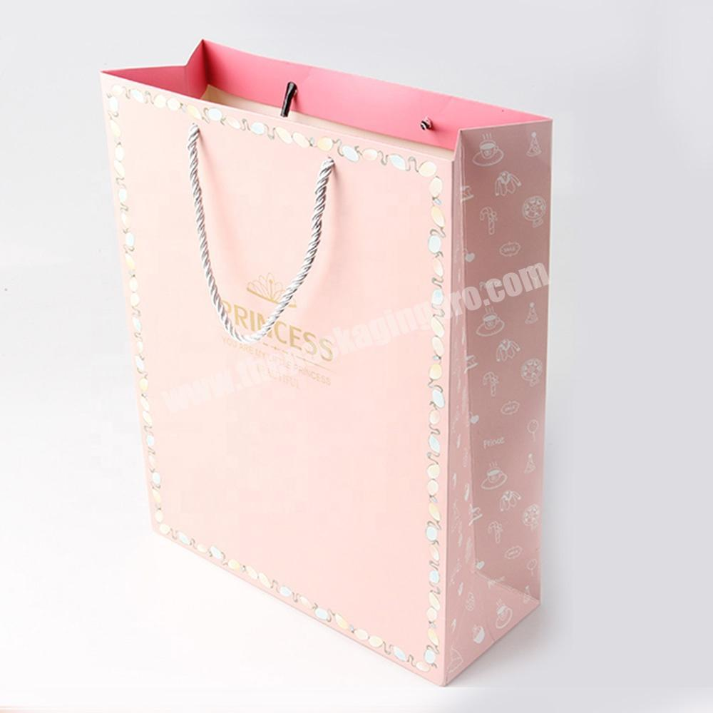 Wholesale pink jewelry packaging paper bags with logo for gift