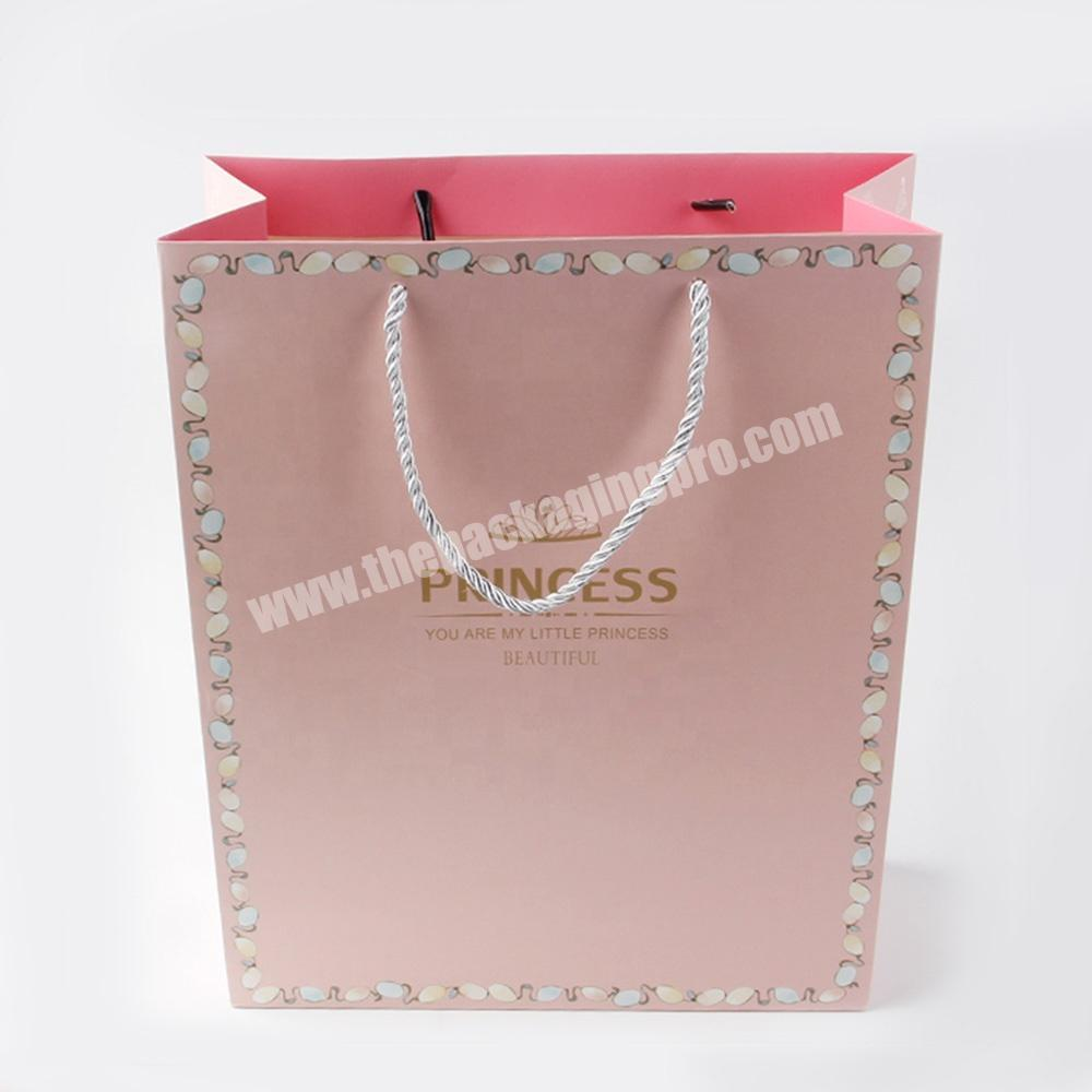 Manufacturer pink jewelry packaging paper bags with logo for gift