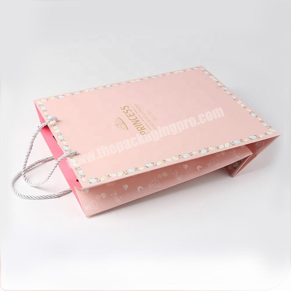 Supplier pink jewelry packaging paper bags with logo for gift