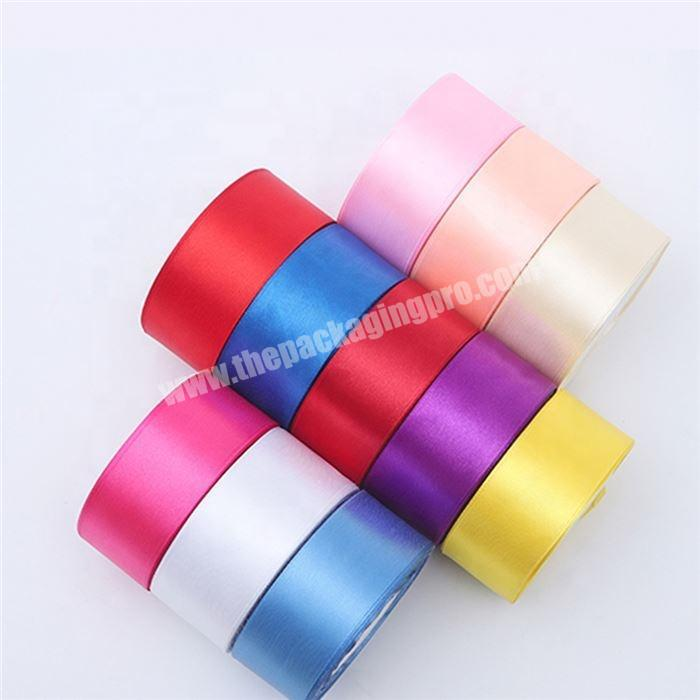 Plain color satin ribbon  roll for wedding party decoration