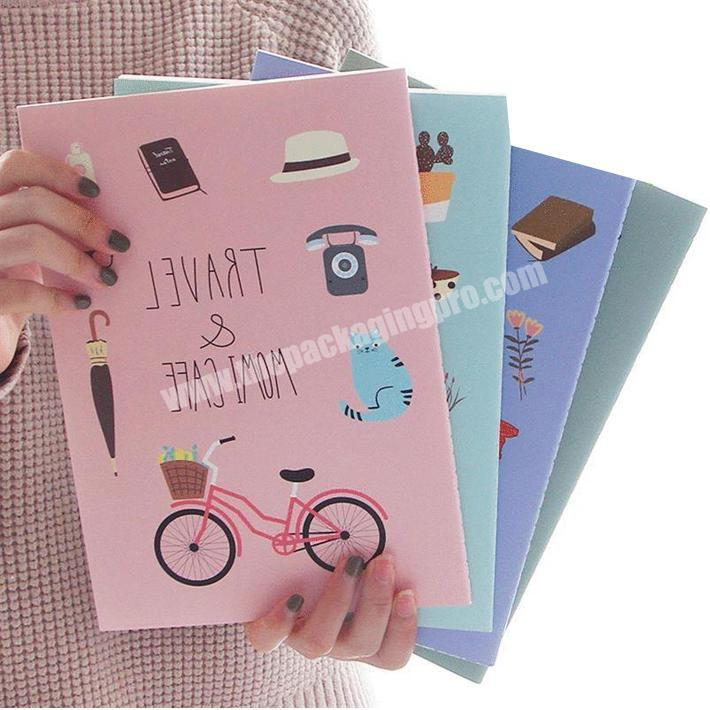 Pretty lay flat smooth writing paper softcover exercise notebook