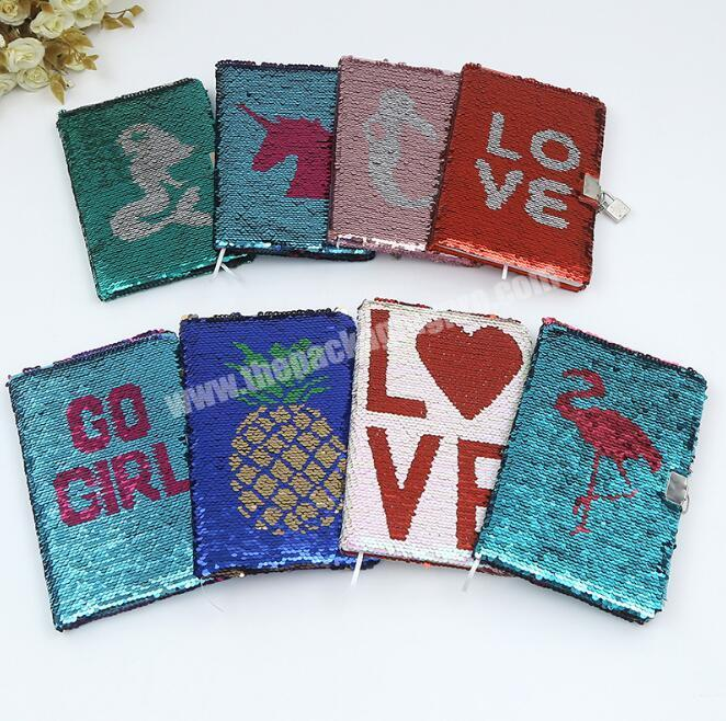 Wholesale Promotional custom flipped sequins hardcover A5 paper glitter notebook