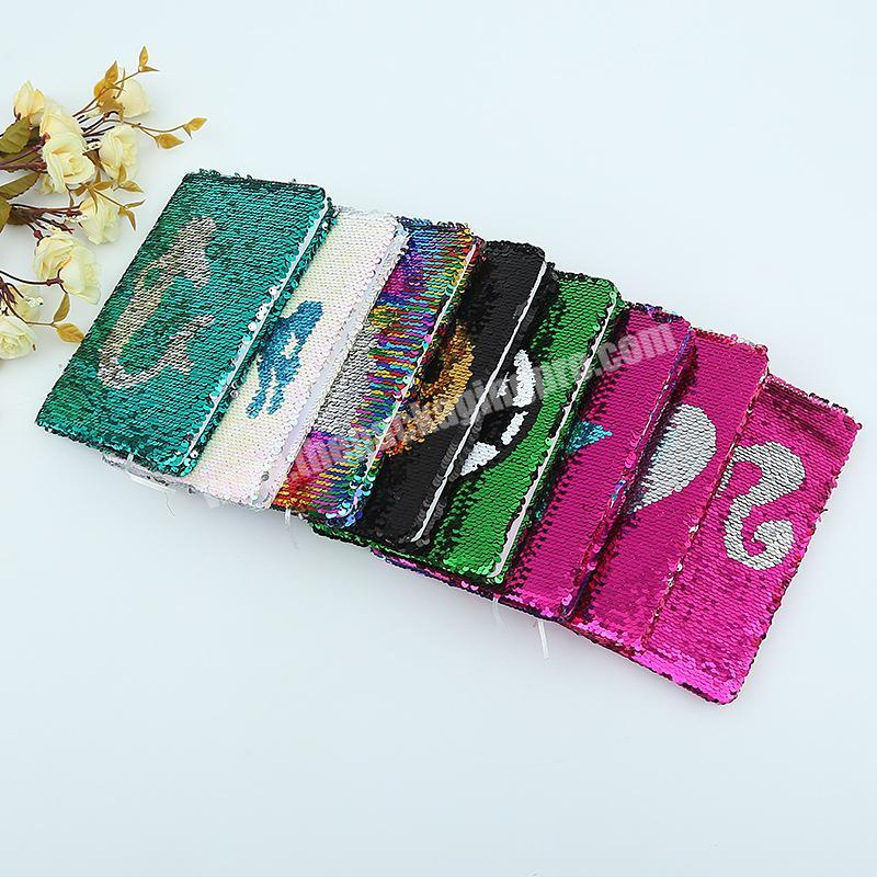Factory Promotional custom flipped sequins hardcover A5 paper glitter notebook