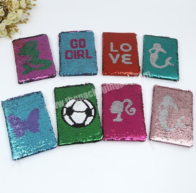 Manufacturer Promotional custom flipped sequins hardcover A5 paper glitter notebook