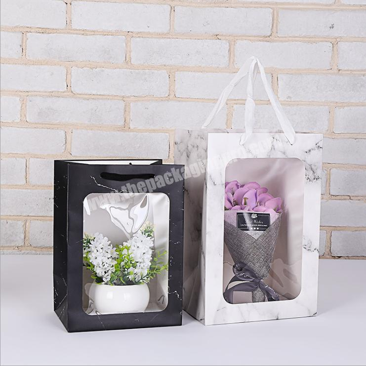 pvc shopping bag flower delivery box cardboard paper gift bags custom