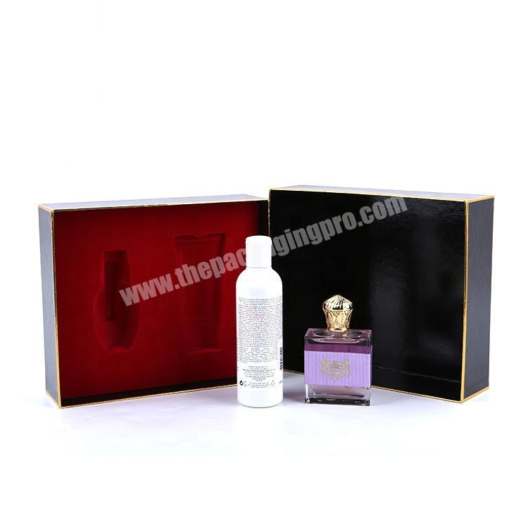 Manufacturer Recyclable Black Cardboard Beauty Cosmetic Packaging Perfume Gift Box With Inserts