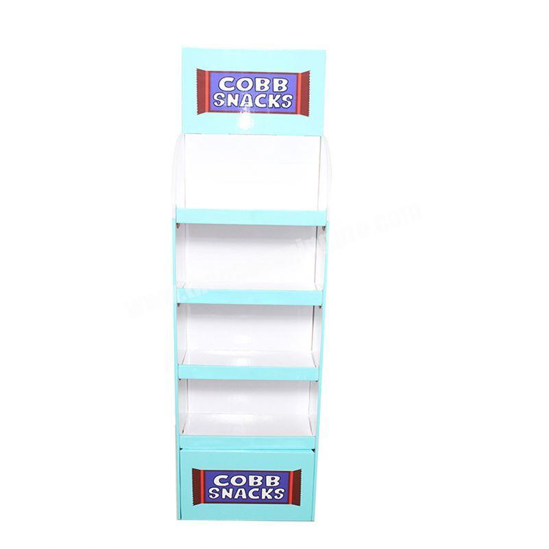 Revolving Cardboard Counter Custom Advertising Rotating Display Stand with Spinning Pallet Hook Rack