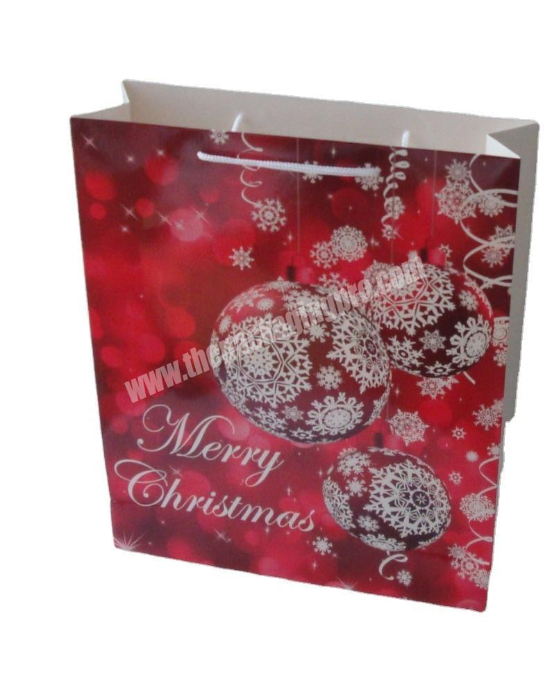 SC Custom Printed Merry Christmas Paper Cardboard Packaging Gift Shopping Bag