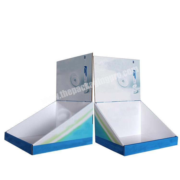 Shop shipping corrugated box counter display rack paperboard cardboard display table