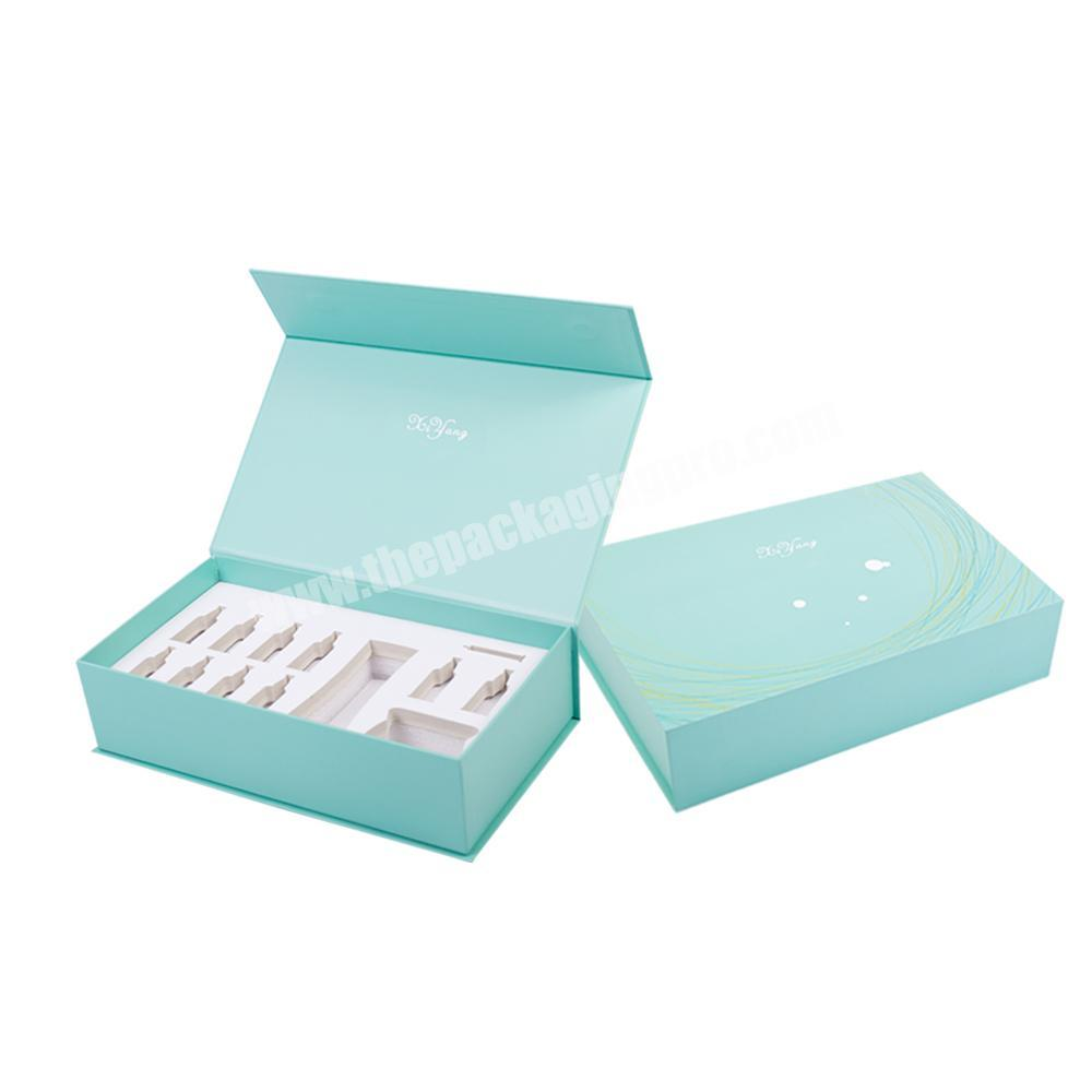 silver logo custom cardboard cosmetic beauty packaging self-care subscription boxes