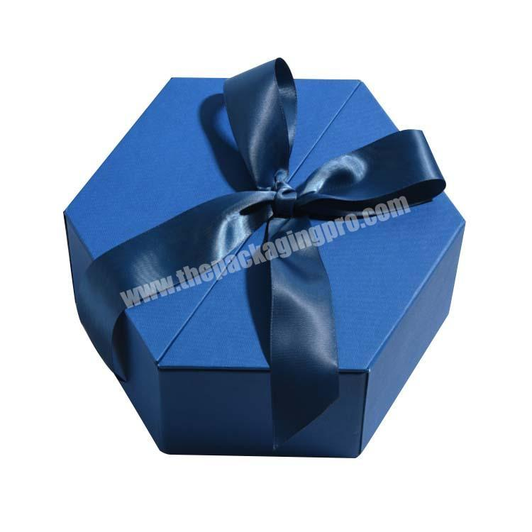 special polygon irregular shape display packaging box with Ribbon
