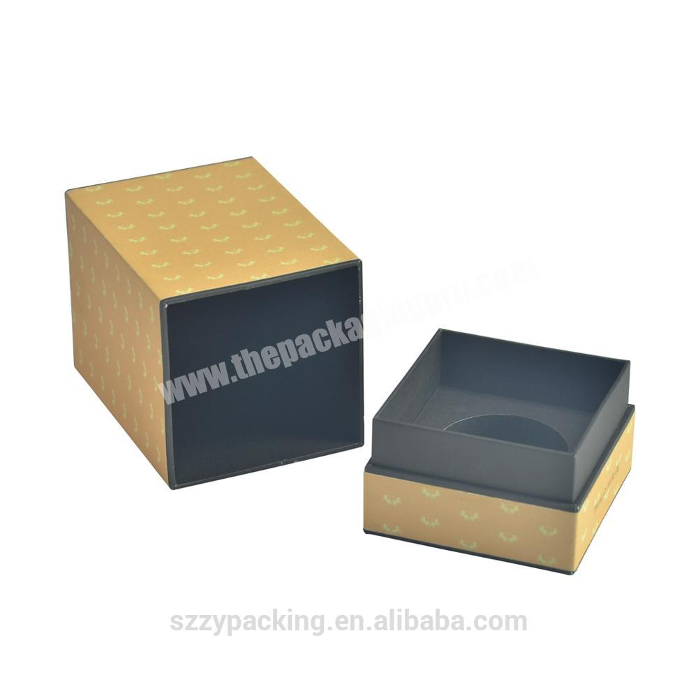 Square Embossed Hot Foil Paperboard Perfume Gift Packing Box With Bottom Tray