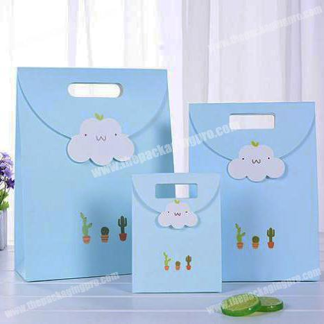 Supply small fresh multicapacity process pattern cloud series gift tote packaging paper bag