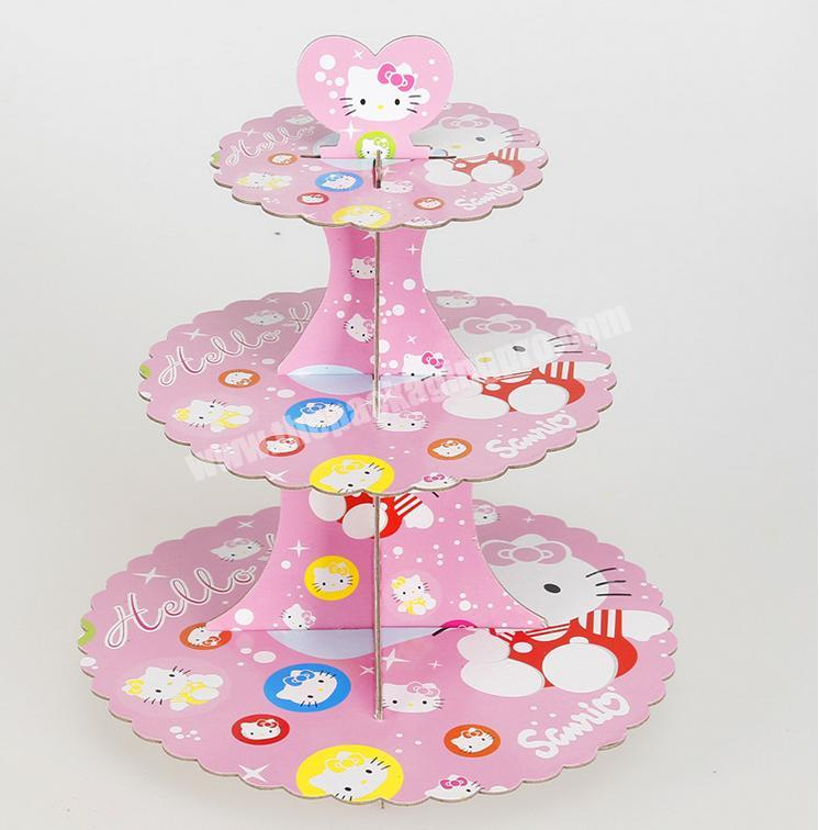 Supplier Three-layer paper gold and silver cake rack birthday party dress-up fair dessert rack