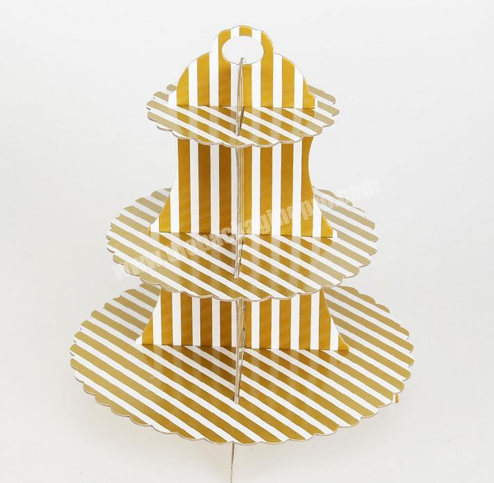 Wholesale Three-layer paper gold and silver cake rack birthday party dress-up fair dessert rack