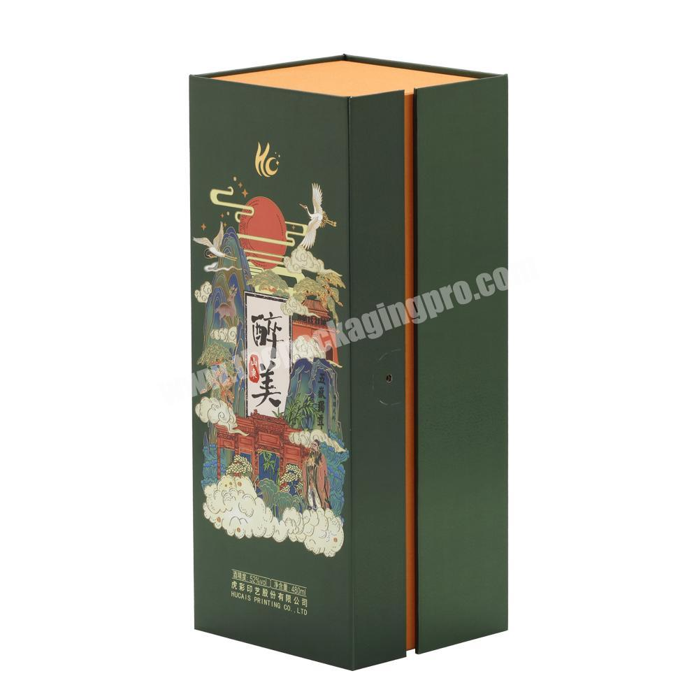 Wholesale Traditional Luxury Handmade High Quality Lid Hinged Base Rigid Paper Cardboard Box with Satin Cushion for Wine Whisky  Cognac
