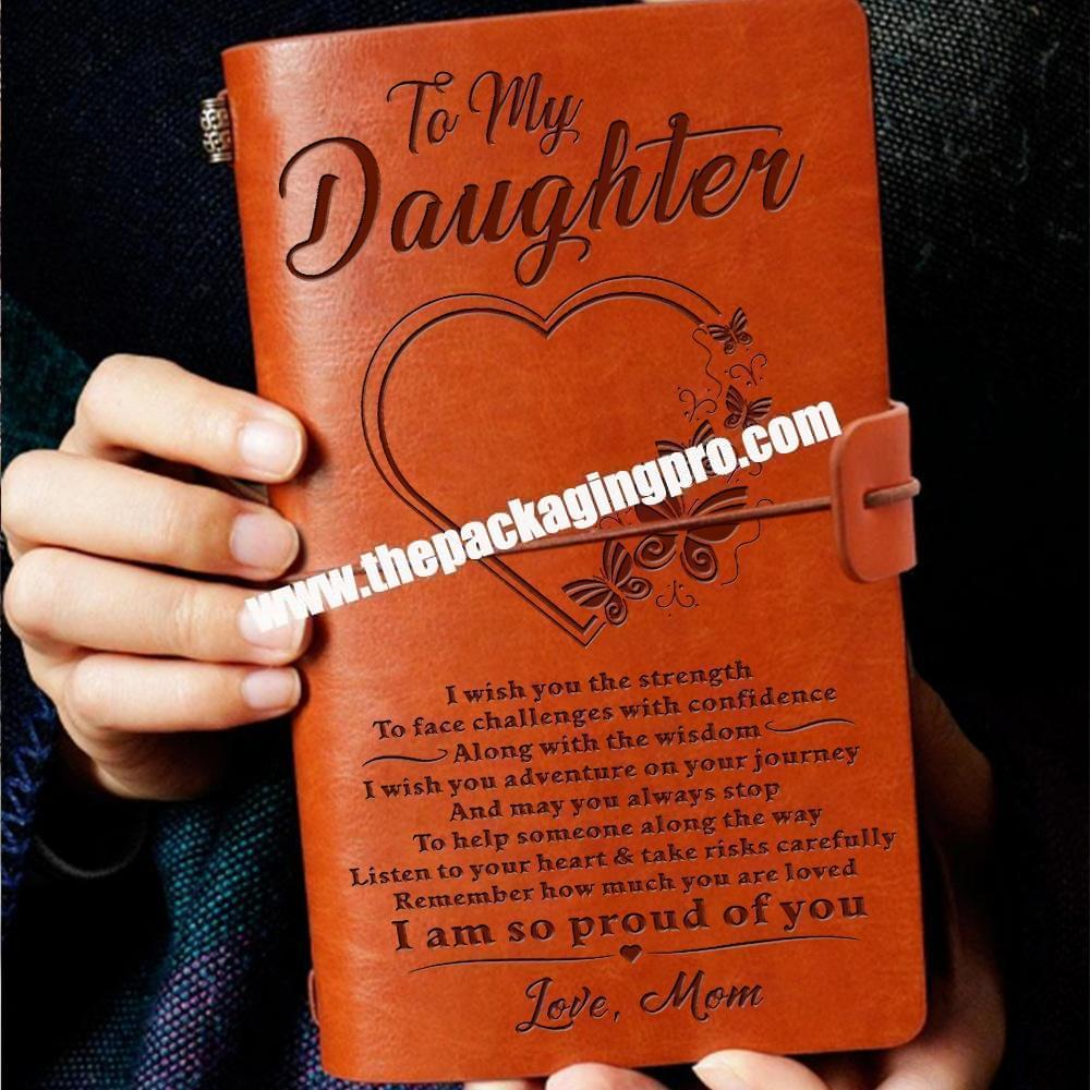Unique Design Dad Mom Daughter Son Vintage Journal With PVC Pocket Customized Leather Journal Notebook Printing For Birthday