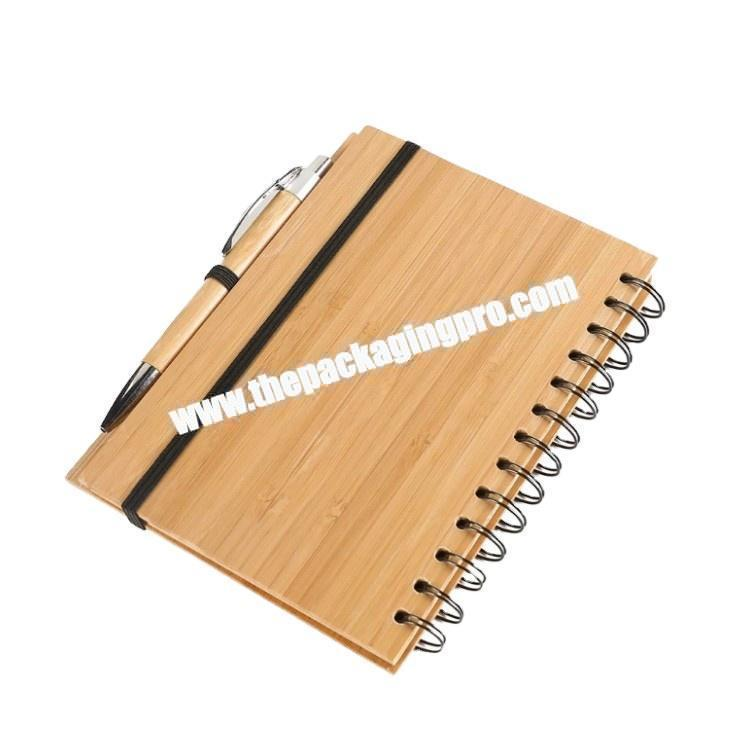 Unique Ruled Lined Blank Diary Journal Wooden Wood Cover With Pen Loop Logo Customized Spiral Coil Double Ring Notebook Notepad