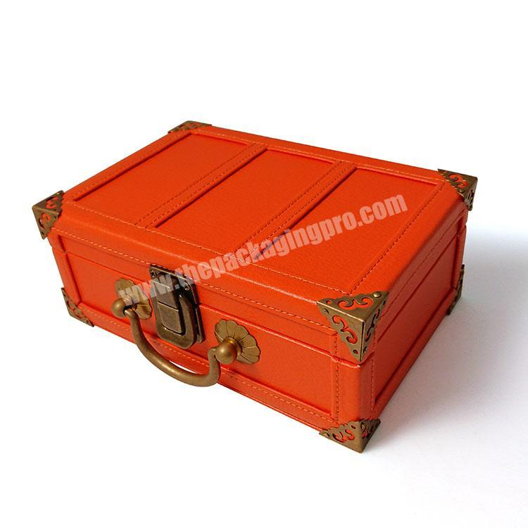 Vintage MDF wooden keychain perfume suitcase gift box PU leather with lock