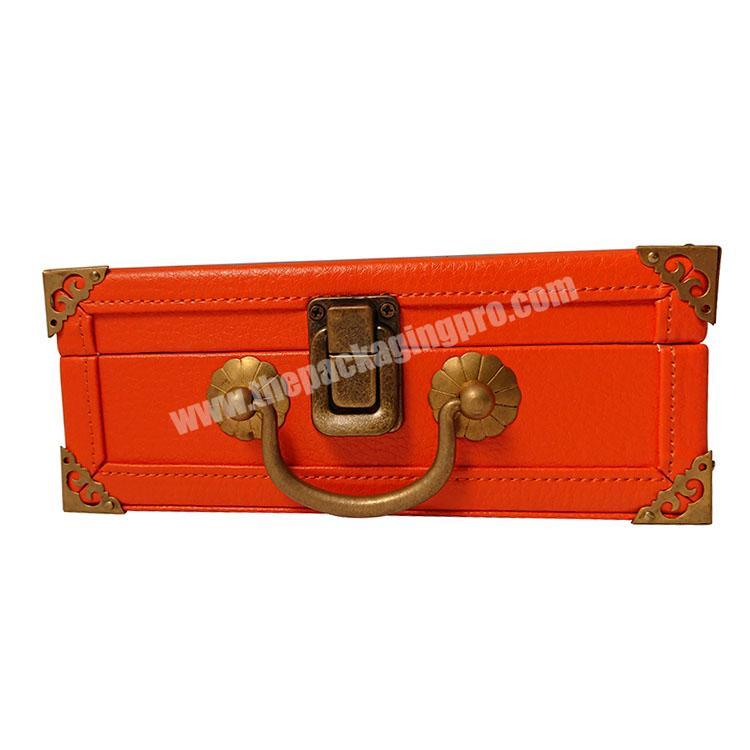 Manufacturer Vintage MDF wooden keychain perfume suitcase gift box PU leather with lock