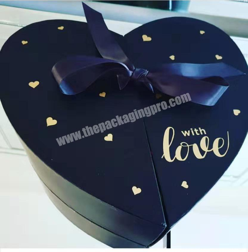 Wedding decoration custom gift box  for flower & personal care gift  box  with heart shape double opening doors