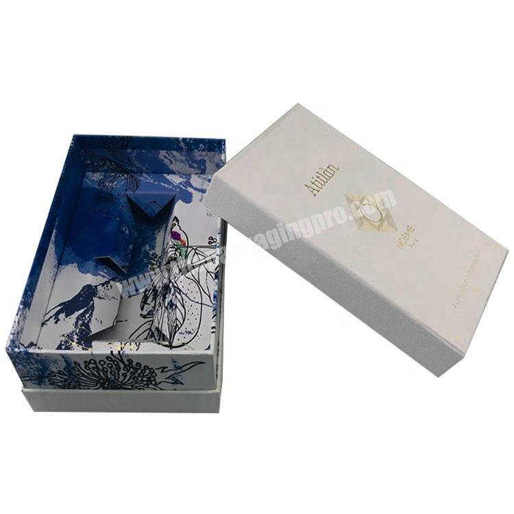 white embossing paper with gold logo shoulder neck perfume box with full color paper inlay