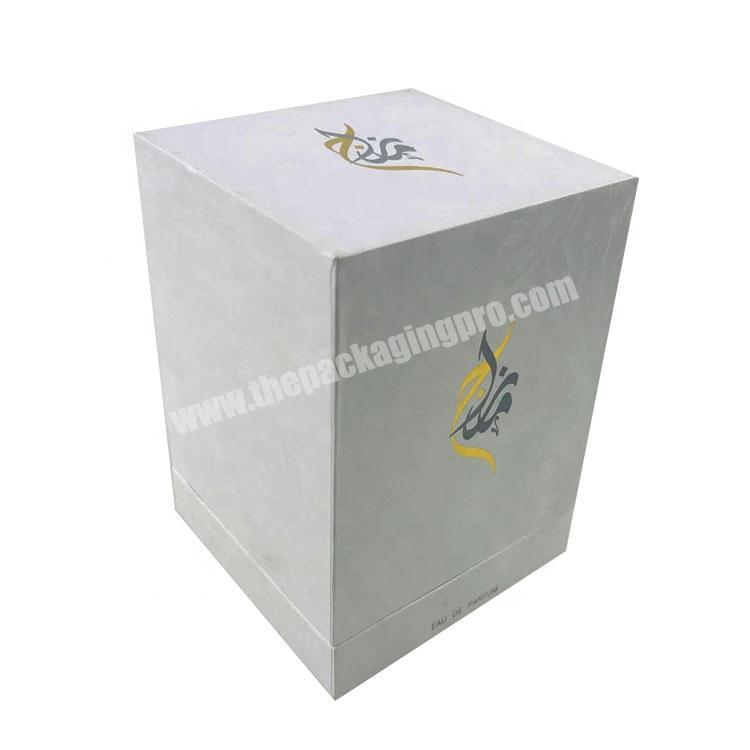 white pattern paper one bottle packed rectangle tall lid and base tray perfume box with stamped logo