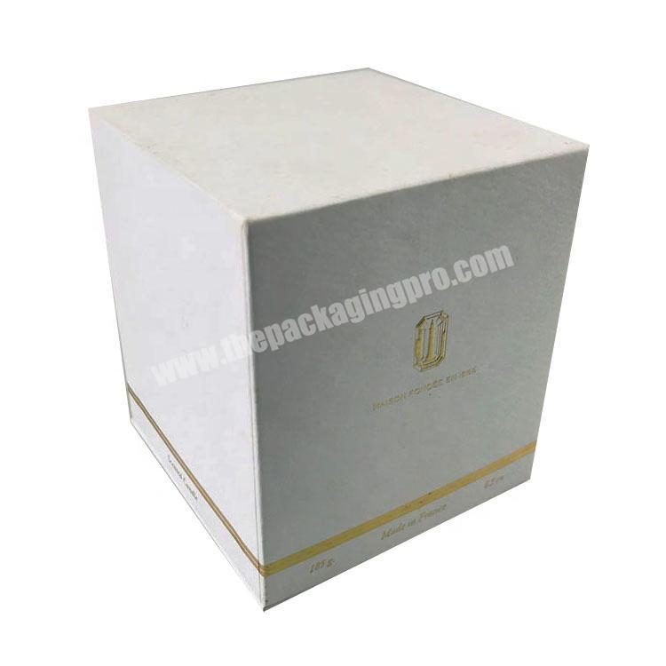 Manufacturer white pattern paper one bottle packed rectangle tall lid and base tray perfume box with stamped logo