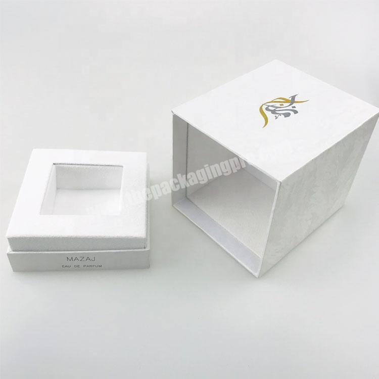 Factory white pattern paper one bottle packed rectangle tall lid and base tray perfume box with stamped logo