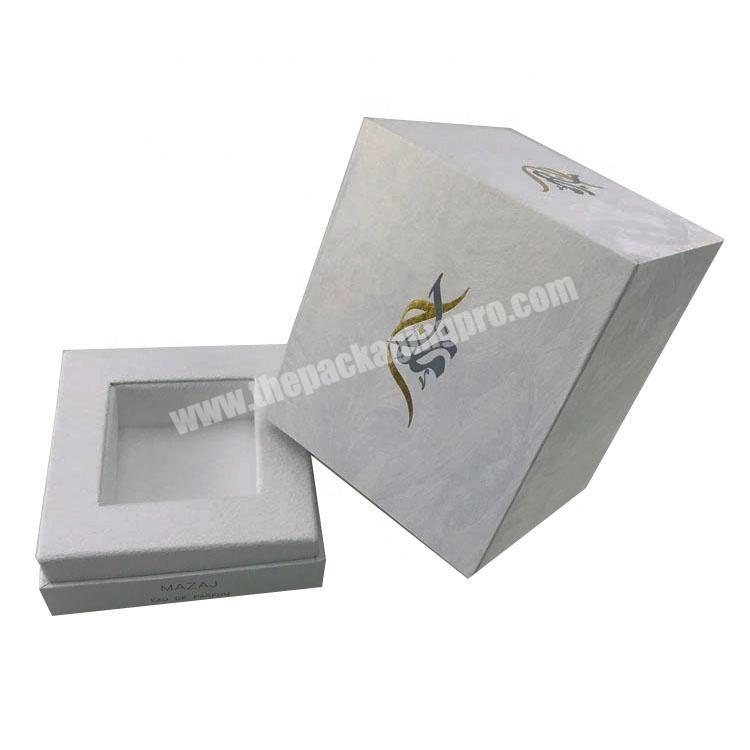 Wholesale white pattern paper one bottle packed rectangle tall lid and base tray perfume box with stamped logo