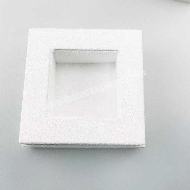 Shop white pattern paper one bottle packed rectangle tall lid and base tray perfume box with stamped logo