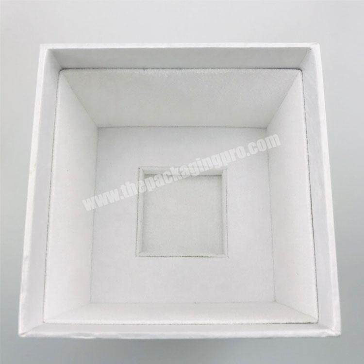 Supplier white pattern paper one bottle packed rectangle tall lid and base tray perfume box with stamped logo