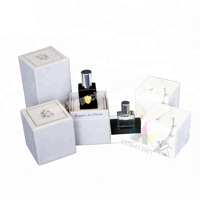 White Perfume Packaging Box With Insert For Holding The Bottle