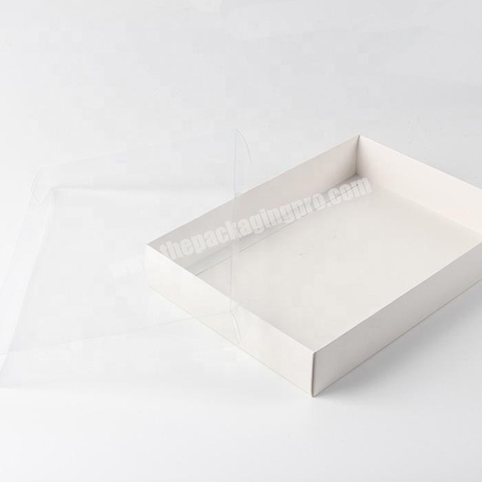 White square shape rigid gift box with clear visible pvc window lid