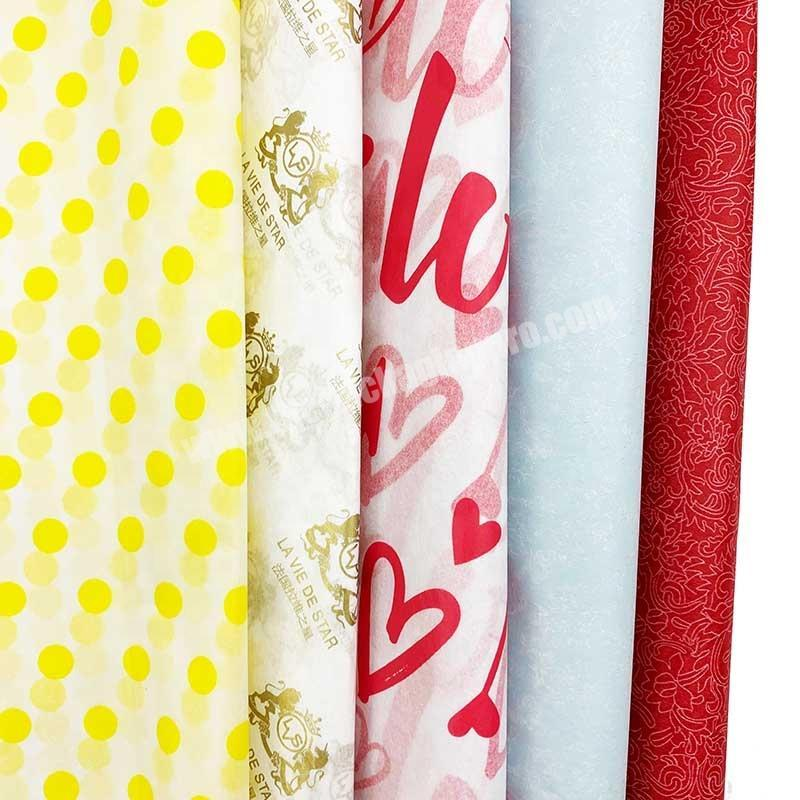 Wholesale custom logo printed dots tissue wrapping paper for products packaging
