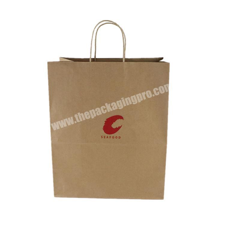 Wholesale Custom Logo Printing Food Take Away Brown kraft Paper Bags With Handle