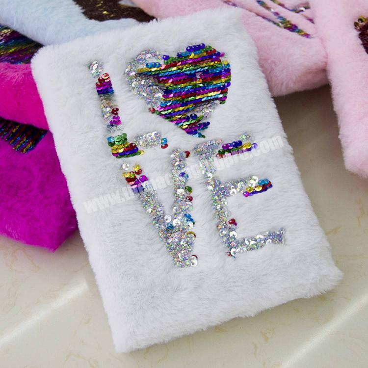 Wholesale factory custom sequin plush decorative notebook for student diary