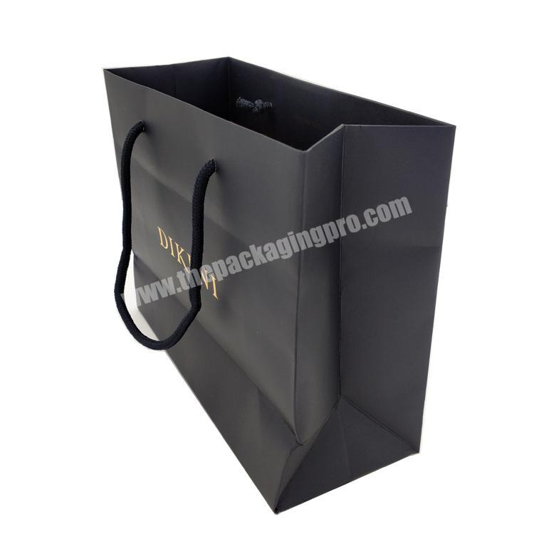 Wholesale High Grade Jewelry Gift Gold Hot Stamping Logo Black Handle Paper Bag For Shopping Wholesale High Grade Jewelry Gift