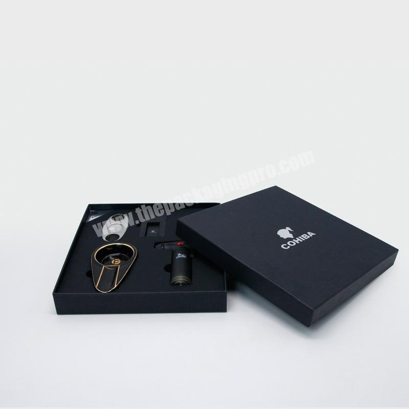 Wholesale High Quality Square Black Luxury Premium Rigid Cigar Packing Box with Custom  Printed Foam