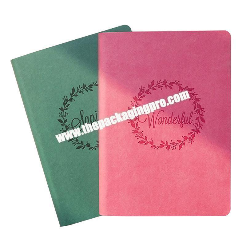 Wholesale Logo Engraved Candy Color Pink Green Blue Orange Softcover Notebook Diary For Kids Students A5 A6 Colorful Cheap Notes