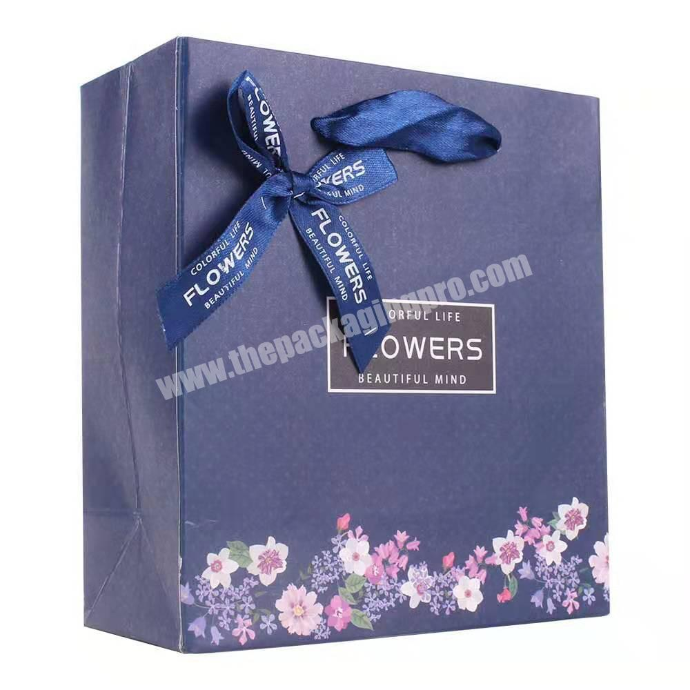 Wholesale luxury fashion custom handmade clothes shopping blue gift packaging coated paper bag