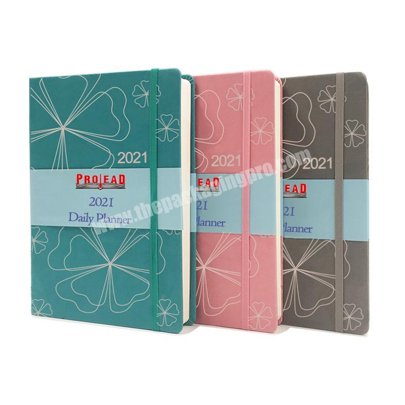 Wholesale Office Stationery Custom Planner 2021 Daily Weekly Agenda A5 Business Hardcover Leather Notebook