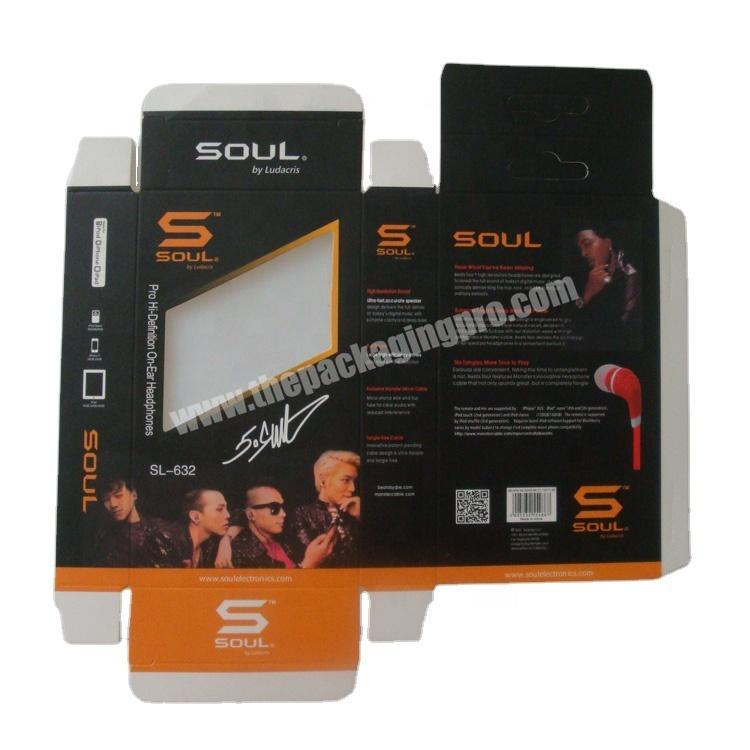 Wholesale price headphone packaging box with clear window