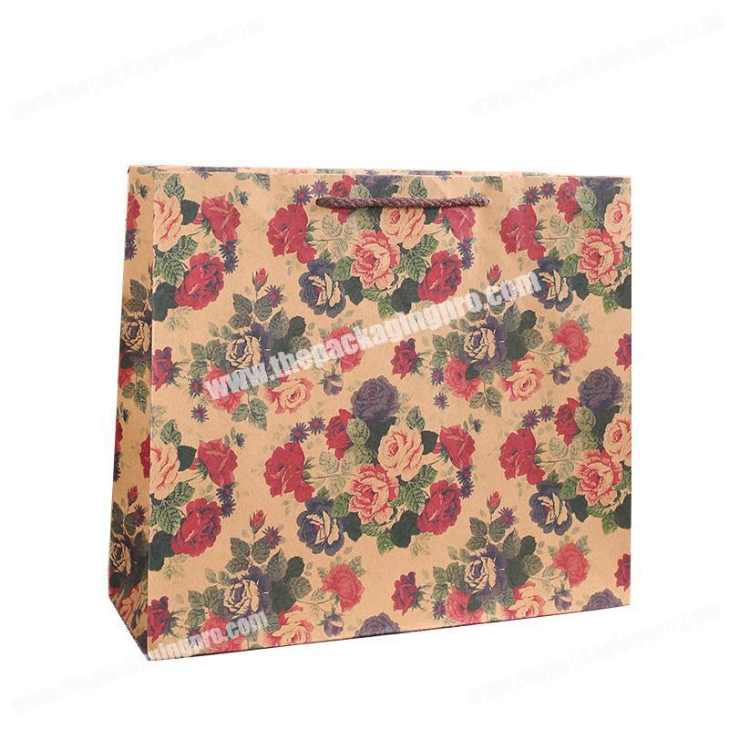 Wholesale promotional small flowers printing customized gift paper kraft tote bag