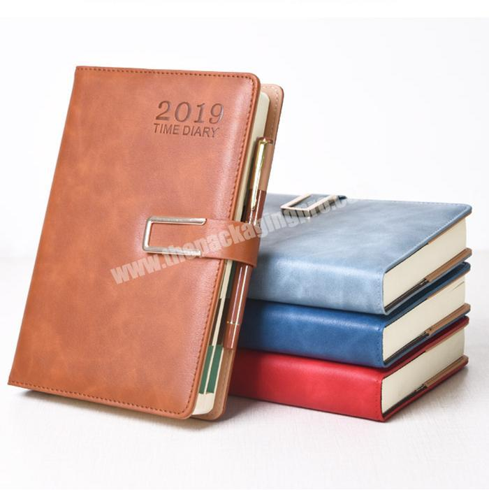Wholesale PU Leather Diary Custom Logo Refill Notebook With Matel Button