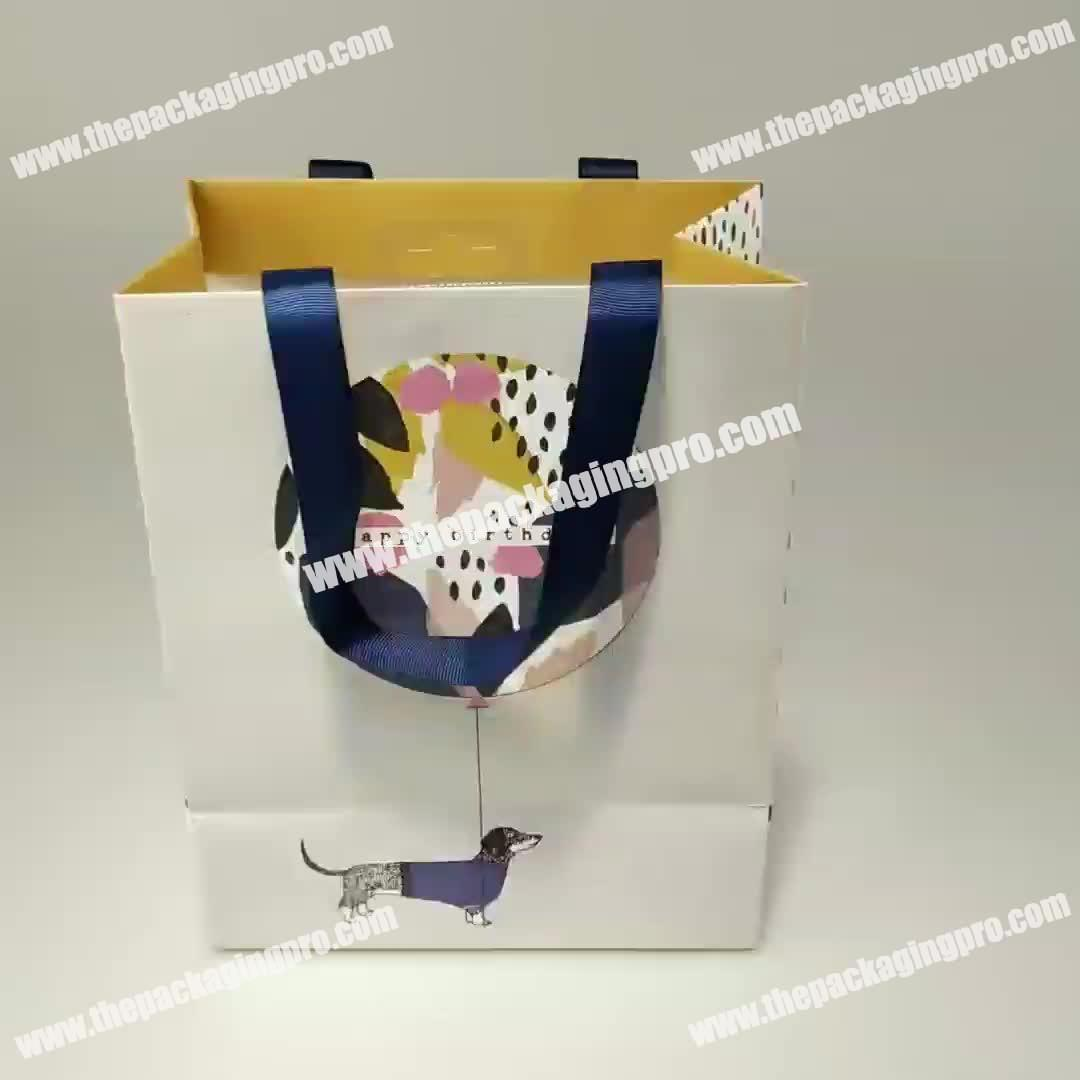 Wholesale Unique Ribbon Handle Cheap Paper Shopping Bags Luxury Paper Gift Bags With Your Own Logo & Wholesale Unique Ribbon Handle Cheap Paper Shopping Bags Luxury ...