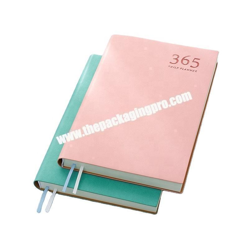 Wholesale Weekly 365 Days Notes Planner A5 Pu Leather Pink Student Notebook 2021 New Design Printing Hardcover Diary Notebook
