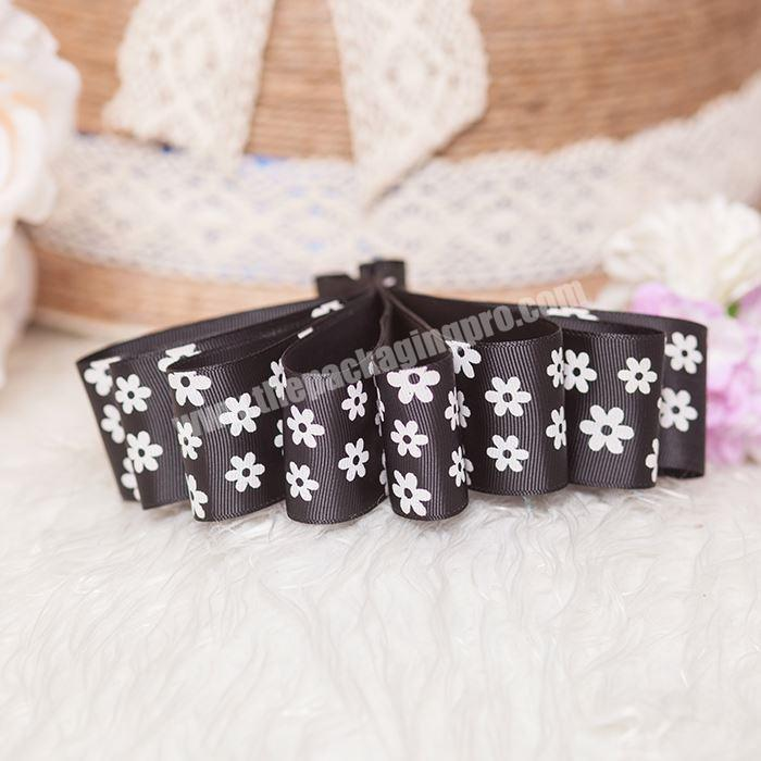 Wholesale White Printing With Logo 2.5cm Gift Wrapping Custom Grosgrain Webbing Decoration Ribbon Roll
